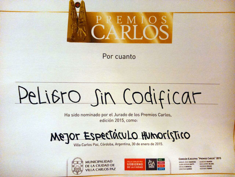 Peligro sin Codificar, Yayo y Pichu nominados a los Premios Carlos 2015!